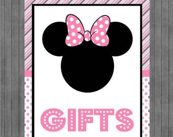 FLASH SALE Minnie Mouse Birthday Sign, Gift Sign, Pink