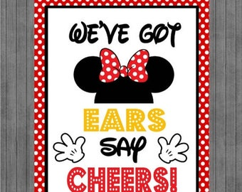 Mouse Birthday Sign, We've Got Ears Say Cheers, Red, Yellow