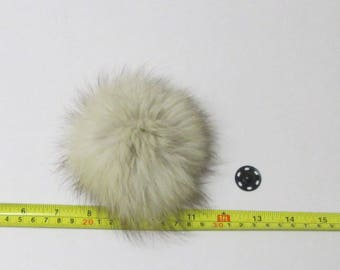 Removable Natural Fox Fur Pom Pom Ball Bobble w/ Sew-On Snap Made in USA