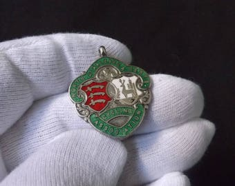 Vintage  Sterling Silver and Enamel Pocket Watch Cycling Fob Medal by Louis Simpson 1951