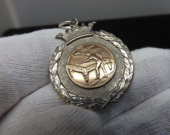 Vintage Sterling Silver and 9ct Rose Gold Albert Watch Fob Billiards Medal by Clark and Sewell 1927