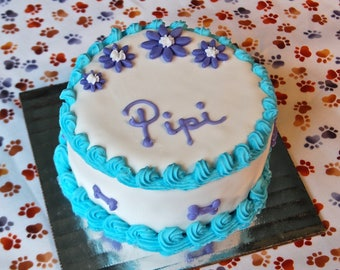 Dog Birthday Cake with Gorgeous Decorations and Your Dog's Name for Dogs and Puppies, Puppy Cake,  Birthday Cake for Dogs