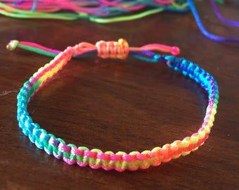 Rainbow/tie-dye, friendship macrame bracelet
