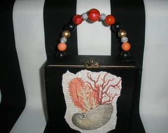 Coral and Seashell Cigar Box Purse, Velvet Lined, Authentic, Tampa