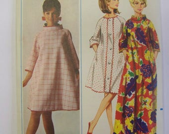 UNCUT Vintage 1960s Butterick 4453 Funnel Neck Tent Dress Pattern Sz L Bust 38-40
