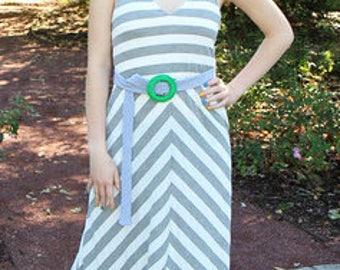 Susie Dress- Grey/White Stripe
