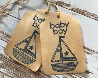 Baby Boy Coffee Dyed Favor Tags / Sailboat / Nautical / Baby Shower / Baby Blessing / Gender Reveal