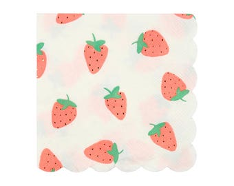 Strawberry Party Napkins (Set of 16) - Meri Meri Small Paper Napkins | Fruit Party