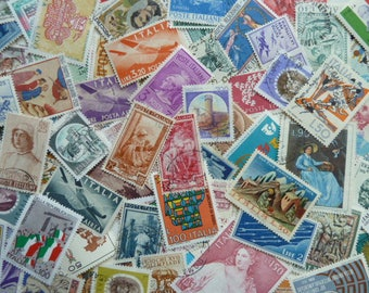 Italian Stamps - 100 Stamps from Italy for Art Projects, Collage, Card Making, Jewelry, Decoupage, etc.