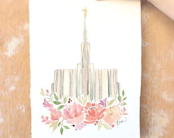 Seattle, Washington LDS Temple Watercolor Print