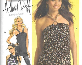 KNIT TOPS w/Chain Ring Clasp & TUNIC McCall's Hilary Duff Pattern 5585 Misses Sizes 4 6 8 10 12