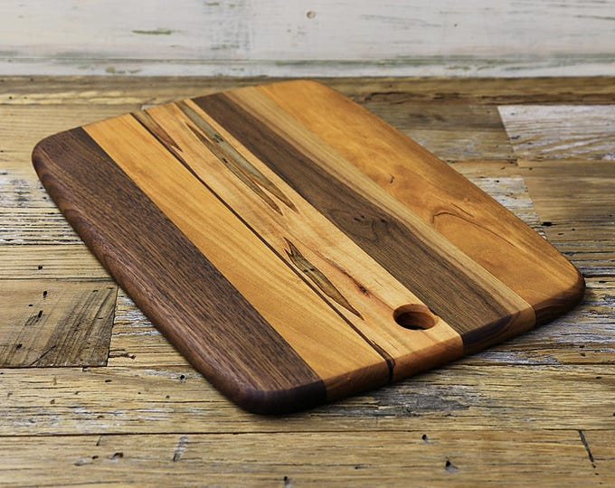SALE, Price Reduced! Large Wood Cutting Board, Mixed Woods, Walnut, Cherry & Ambrosia Maple Wood