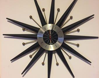 Vintage Mid Century Modern Starburst Atomic Space Age Seth Thomas Wall Clock