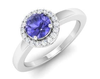 Tanzanite Ring, 14K White Gold, Halo Ring, Tanzanite Engagement Ring, December Birthstone Ring, Anniversary/Wedding Ring, Gemstone Ring