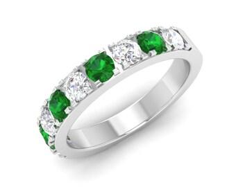 Emerald Wedding Ring, 14K White Gold, Anniversary Ring, Eternity Wedding Ring, Emerald Engagement Ring,Half Eternity Ring, Emerald Gold Ring