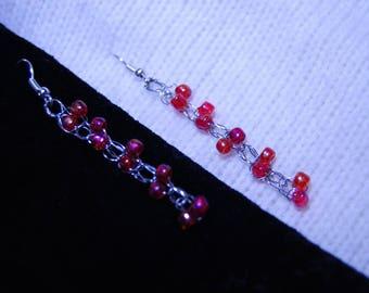 Knitted Red Hook, wire hook earrings