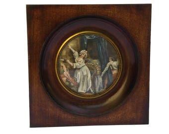19th Century French Erotic Art Antique Miniature Painting.