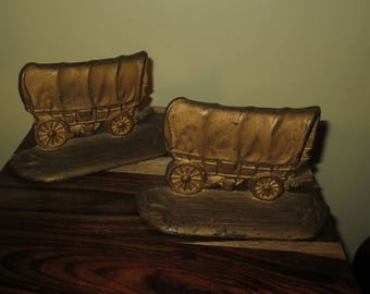 Rare Antique 1940's Western Covered Wagon Bookends , W.H.Howell Bookends