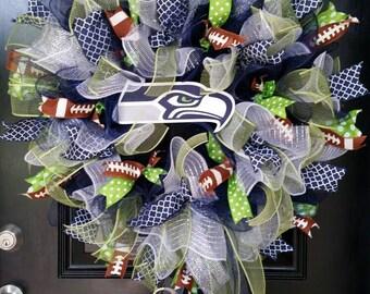 Large Mesh Burlap Ribbon Football Wreath Seattle Seahawks