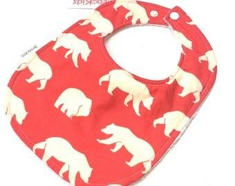 Red Bear Bib - Woodland Baby - Gender Neutral Baby - Mama Bear - Baby Bibs - Toddler Bibs - Baby Girl Bibs - Woodland Animals - 26