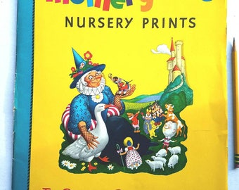 10 large 1960s Mother Goose prints. Penn Prints. Nursery rhymes. Nursery prints. Nursery decor. Kids decor. Mother goose art. Baby shower