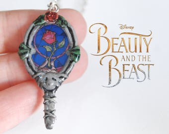 Beauty and the Beast pendant | Mirror beauty and beast | Beauty and the beast necklace | Disney pendant | Belle disney necklace