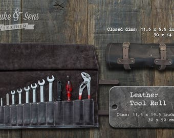 Tool Roll, (Dark brown leather, handmade) with pockets for tools and 2 leather straps to mount on motorcycle if you wish