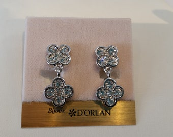 D'Orlan Clip Drop Earrings.  Floral Design.  Handset Swarovski crystals. Rhodium plated, Vintage, New