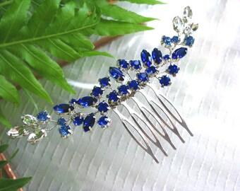 Cobalt Blue Wedding hair vine. Bridal hair comb. Hair accessories for wedding. crystal comb. Bridal head piece. Wedding hair pieces