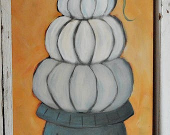 Whispers of Autumn - white, gray, pumpkins, fall, autumn, original painting, contemporary, acrylic painting