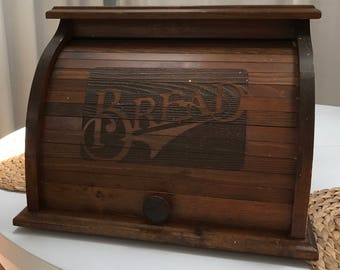 Solid Pine Roll Top Wood Carved Bread Box