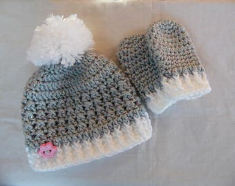 Infant Hat and Mitten Set, Baby Girl Hat and Mitten Set, Newborn Gift Set, Gray and White Hat Set, Handmade Crochet Baby Hat and Mittens