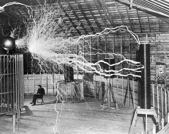Nikola Tesla in his laboratory in Colorado Springs around 1899