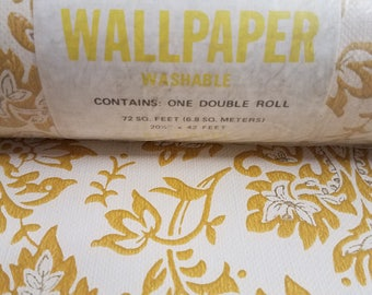 Vintage Wall Paper Damask By The Yard Yellow & Beige with Gold Trim Ready Pasted Wallpaper Washable No. 3