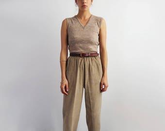 Tan Corduroy Pants // Small 1980's Elastic High Waist Trousers // Women's Vintage Clothing