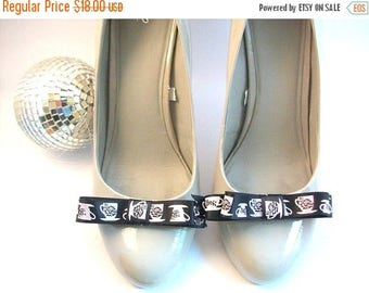 CLEARANCE Teacup Shoe Clips, Black and White Shoe Clips, Ribbon Shoe Clips, Printed Shoe Clips, Satin Shoe Clips, Shoe Clips, Shoe Accessori