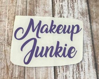 Makeup Junkie Vinyl Decal Car Laptop Wine Glass Sticker