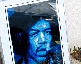 Portrait of guitarist Jimi Hendrix 50 x 40 cm