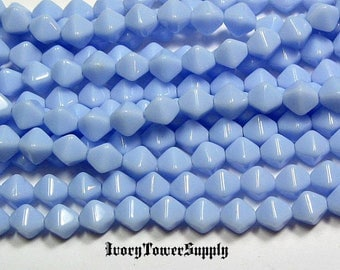 6mm Czech Glass Bicone Beads, Baby Blue Beads, Glass Beads