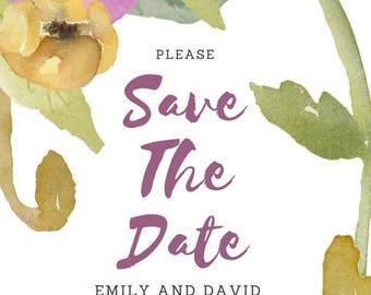 Watercolor Save the Date Printable PDF
