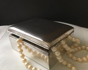 Elegant Wooden Lined Silver Cigarette/Trinket Box
