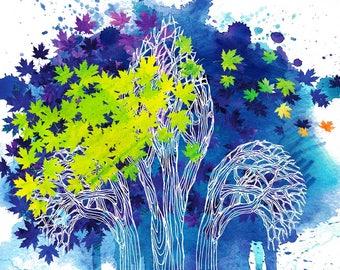 Fleur-de-Lys tree, limited edition, High quality art print, home decor