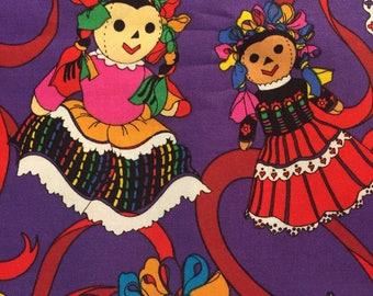Baile Folklorico Fabric, Fiesta, Cinco de Mayo, Purple Fabric, almost 2 yards