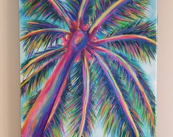 Palm Tree Canvas print/Original Art/Hand Painted/Embellished/Abstract Acrylic/Island Art/Wall Hanging/Impressionist/