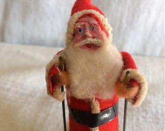 Vintage Santa on Skis