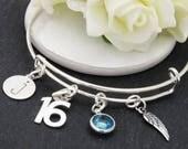 16th Birthday Gift, Silver Adjustable Charm Bracelet, Angel Wing Initial Bracelet, 16th Silver Charm Bracelet