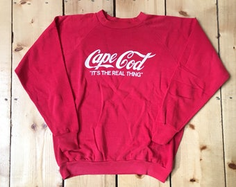 Vintage 70s 80s Cape Cod Its the Real Thing Coca Cola Sweatshirt Crewneck Sweater - Medium fit