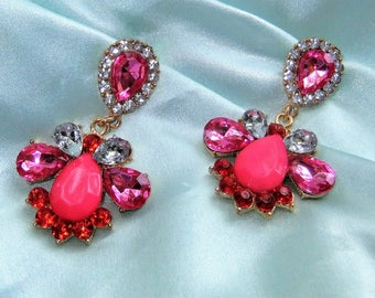 Statement earrings pink earrings rhinestone opulent