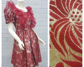 20% OFF SALE Vintage 1960s Gold Lame Embroidered Floral Print Organza Frill Bodice Full Box Pleat Skirt Prom Dress Extra Small
