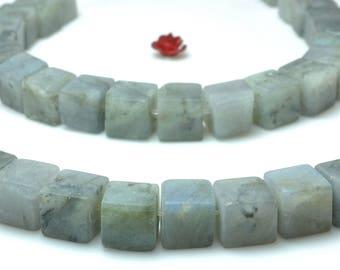 44 pcs of Natural Labradorite square matte cube beads in 8-9mm (07231#)
